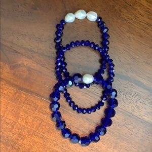 Jewelry - Set of 3 cobalt blue bracelets with pearls